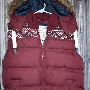Tokyo Laundry Fair Isle Faux Fur Hood Maroon Vest